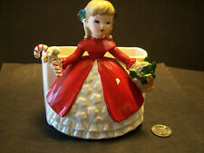 "NAPCO Christmas girl figurine planter 1960  ceramic Japan 5 1/2"" H x 5"" Vintage"