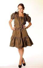 YVES SAINT LAURENT Military Green Cotton DRAWSTRING RUFFLE DRESS Pleated Skirt 6