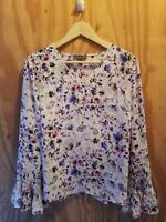 The Limited Women's Blouse Top Long Bell Sleeve V-Neck Floral Print.Size M