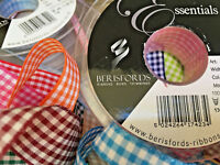 Berisfords Gingham Check Ribbon Choose Shade & Width  20 metre Roll Sewing/Craft