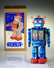 ME100 Retro Tin Robot Mr. D Cell Blue Robot 2008 Battery Operated Vintage Repro