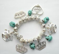 Crown Charm Beaded Stretch Bracelet / Silver-tone w Turquoise Stones / Red Hat