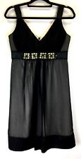Jacqui-e Women's Sleeveless Dress Size 10 Black with Nude Lining Beaded Occasion