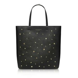 NWT TORY BURCH Women Black, Gold Star Studs, Small Leather Tote Bag