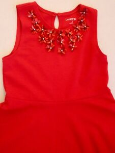NWOT ~LANDS' END~  Girls S (7-8)  Rich Red Floral Sequin Holiday Dress