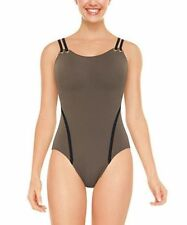 NWT New SPANX Golden Touch One Piece Tank Swimsuit Swimwear Pewter 10
