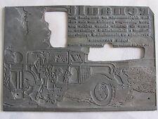 04C30 ANCIEN TAMPON MATRICE IMPRIMERIE PUBLICITÉ VOITURE RENAULT 1930 BOURBOURG