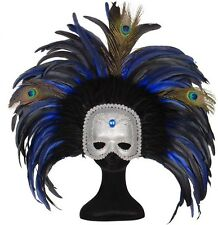 Blue Trocadero Masquerade Moulin Rouge Cabaret Mardi Gras Showgirl Mask Fancy