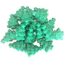 10 x Green Opaque Christmas Tree Bead Charms, Plastic Charms, Xmas, Dummy Clips