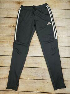 Adidas Women's Size Small Black 3 Stripe Track Pants Sweat Zip Pockets Climacool