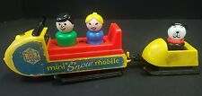 Vintage Fisher Price 1970 Little People Play Family Mini Snowmobile & Sled