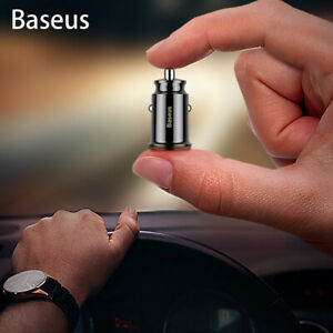 Baseus Mini Small 2 USB Car Charger Adapter 3.1A Dual Port Mobile Fast Charging