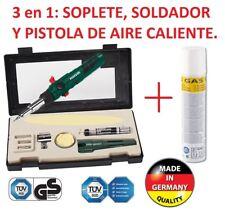 SOLDADOR DE GAS, SOPLETE Y PISTOLA AIRE DE CALIENTE  RECARGABLE 3 EN 1 ALEMAN