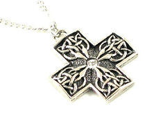 Cross of St. Manchan Pewter Pendant with Swarovski Crystal & chain, , Celtic.