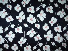 Kimono Seide Mitternachtsblau mit Blüten Meterware