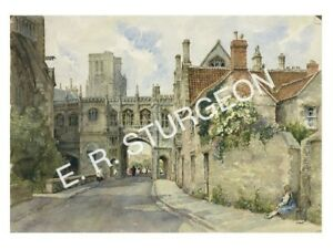 Chain Gate, Wells Signed Watercolour Limited Edition Art Print by Sturgeon