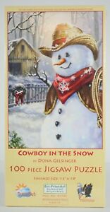 Cowboy In The Snow Jigsaw Puzzle 100 Pc. 13x19 Dona Gelsinger Christmas Snowman