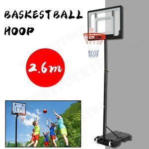 Basketball Hoop Stand System Ring Backboard Net Height Adjustable Gift Kids 2.6M