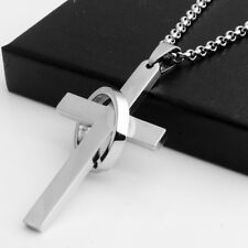 J&J Bro™ Cross with Halo Ring Christian Religious Pendant Necklace