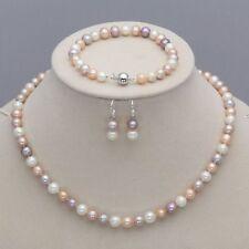 New 7-8mm Natural Freshwater Pearl Necklace Bracelet Earrings Set
