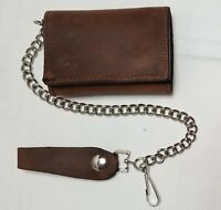 """Brown Leather Trucker Wallet 4.25"""" x 3"""" Trifold With 12"""" Chain MADE IN USA"""