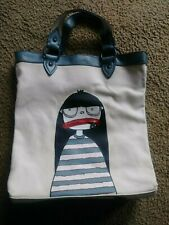 MARC JACOBS Little Miss Marc Canvas Leather tote bag purse zipper mouth tan blue