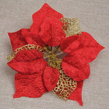 Red Large 22cm Poinsettia Glitter Flower Clip On Decoration Wedding Party