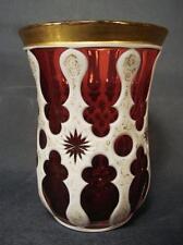 Biedermeier, Gold- Rubinglasweiß , Überfangbecher , H12 cm