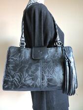 Patricia Nash Riekzo Black Floral Leather Shoulder Bag Tote Satchel Shopper  NWT