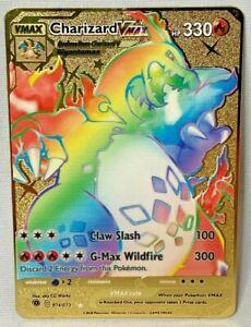 Pokemon Charizard VMAX Rainbow Rare GOLD METAL CUSTOM CARD Champions Path 074