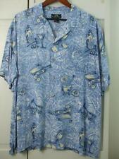 Newport Blue Men's XL Hawaiian Party Shirt Blue White Palms Glass Bottles Mixer