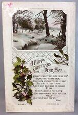 c. 1910 Antique HAPPY CHRISTMAS SON Embossed Glossy RPPC Rotary PHOTO Postcard