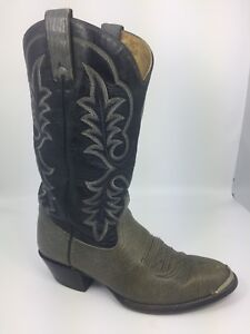 Imperial Vtg USA Gray Deerskin Black Cowboy Western Boots Men's US 9.5 EE