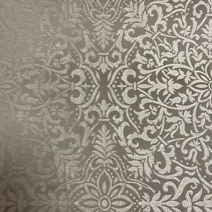 Silver and Grey Damask Floral Pattern Curtain Fabric Material 137cm wide BR328
