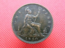 1860 QUEEN VICTORIA - ONE PENNY COIN - 'Bun Head' Portrait - Good Detail (QO07)