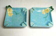 "Pair Vintage Roseville 4.5"" Ashtrays 240-T Floral Turquoise"