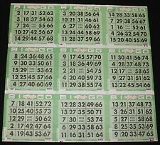 BINGO PAPER Cards 9 on, Green Solid  50 sheets FREE SHIPPING