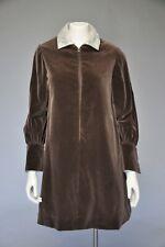 New listing Vtg 60s Teal Traina Brown Velvet Silver Lame Mini Dress Collar Cuffs Mod S/M