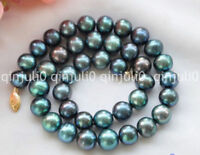"8-9mm PEACOCK BLACK ROUND Freshwater cultured PEARL NECKLACE 18"" JN1154"