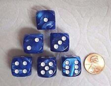 KOPLOW DELUXE MARBLEIZED BLUE - *SIX* 16mm DICE - ON SALE NOW--15% DISCOUNT!