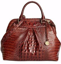 ❤️BRAHMIN BRISTOL PECAN BROWN SATCHEL CROC LEATHER FRAME ~ LOUISE ROSE DOCTOR ❤