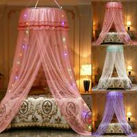 Lace Bed Mosquito Netting Mesh Canopy Princess Round Dome Bedding Net & LED