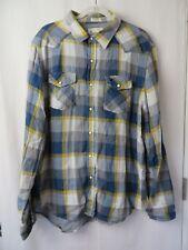 American Eagle Shirt Western Style Vintage Fit Long Sleeve Blue Plaid XL   #7162