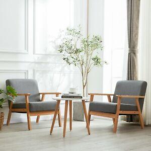 2er Lounge Sessel Polstersessel Retro Lehnstuhl Esszimmer Stuhl mit Massivholz