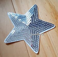 Silver Iron on Transfer Sequin Embroidered Star Patch Applique Motif Badge