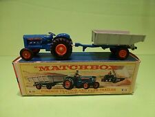 MATCHBOX LESNEY K-11 FORDSON TRACTOR + FARM TRAILER - BLUE GREY - RARE - GIB