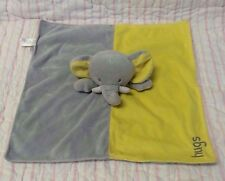 Okie Dokie plush Elephant Hugs baby security blanket yellow gray velour satin