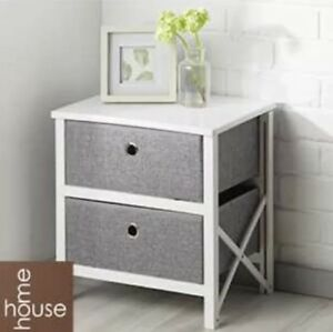 NEW FOLDING GREY & WHITE 2 DRAWER STORAGE USE BEDROOM LIVING ROOM OR HALLWAY