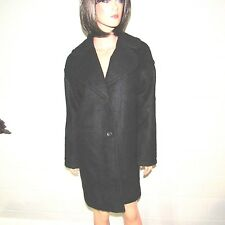Victoria's Secret Polyester Wool Button Front Trench Coat Jacket Black XS NWT
