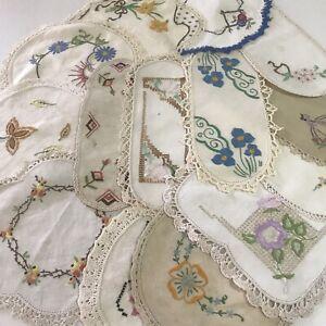 Bulk Lot 14 Vintage Hand Embroidered Doilies Crochet Edging Sandwich Tray Cloths